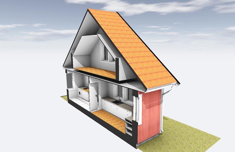 Husmodell övervåning konstruktion