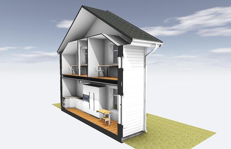 Husmodell förhöjt väggliv konstruktion